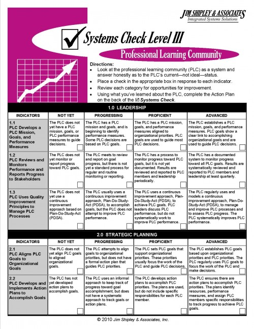 SC3PLC - Professional Learning Communities Systems Check III Cover Image