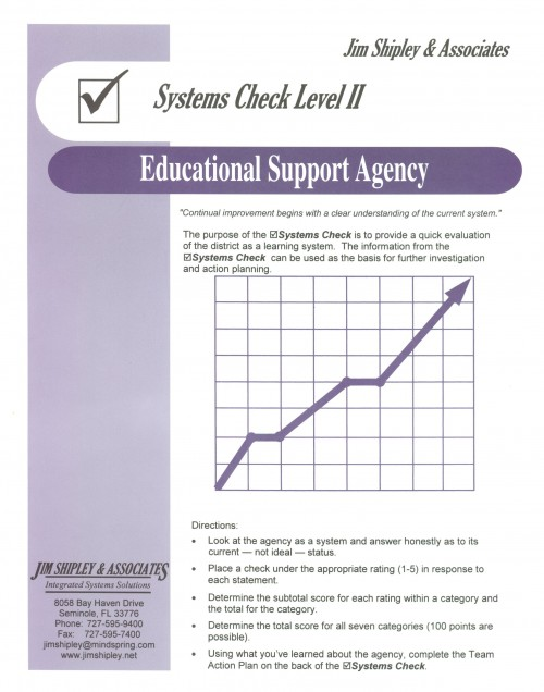 SCESA - Educational Support Agency Systems Check II Cover Image